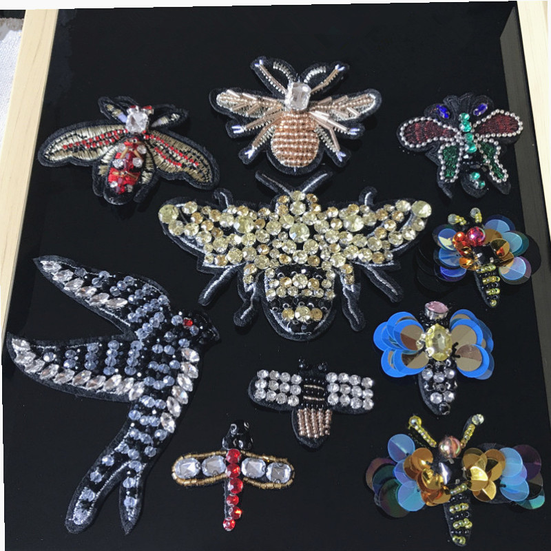 Hand-beaded Cloth Paste Clothes Decoration DIY Accessories Bee Swallow Patch Fill Holes Applique 5Pieces/lot RS51