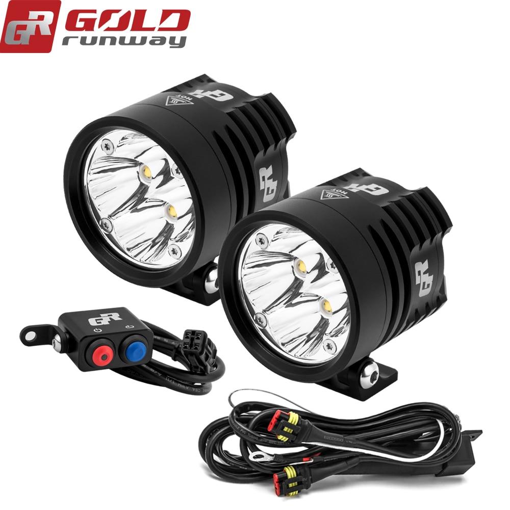 2 PCS GOLDRUNWAY GR EXP4 3000lm Phare Conduite Phares Anti-Brouillard Spotlight Lampe D'assistance Pour Moto Moto avec faisceau de câblage interrupteur