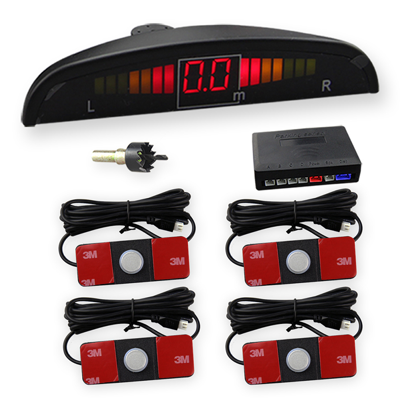 Car Assistant Parking Sensor with Original Flat 4 Sensors 13mm with LED Monitor Car Parking System