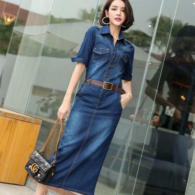 US $25.07 10% OFF|Work OL Ladies Denim Long Dress Women Maxi Jean Vestidos  Female Plus Size S 3XL Autumn Vintage Rivet Pockets Slim Dress Summer -in  ...