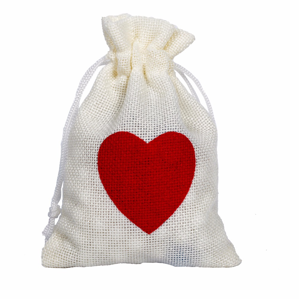 10X14CM Ivory White Jute Pouch Wedding Favor With RedHeart Pattern ...