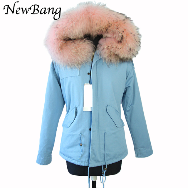 Women Winter Parkas Large  Real Raccon Fur Parka Blue  Faux Fur Liner Thickening Jacket Overcoat