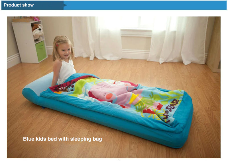 66802 01 02 03 04 05 06 Description Product Information NameBlue Kids Inflatable Bed With Sleeping Bag