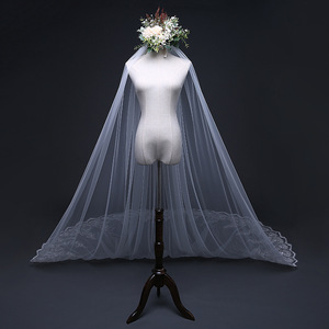 Image 3 - 4 Meter *3m Ivory/White Bridal Veils Lace one layer applique Edge Tulle  Cathedral Wedding Veil Long Wedding Accessorie