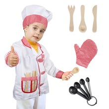 Chef Costume Kids Cook Role Play Fancy Dress Accessories Set Kitchen Pretend for 3-8 Year Old Boys Girls