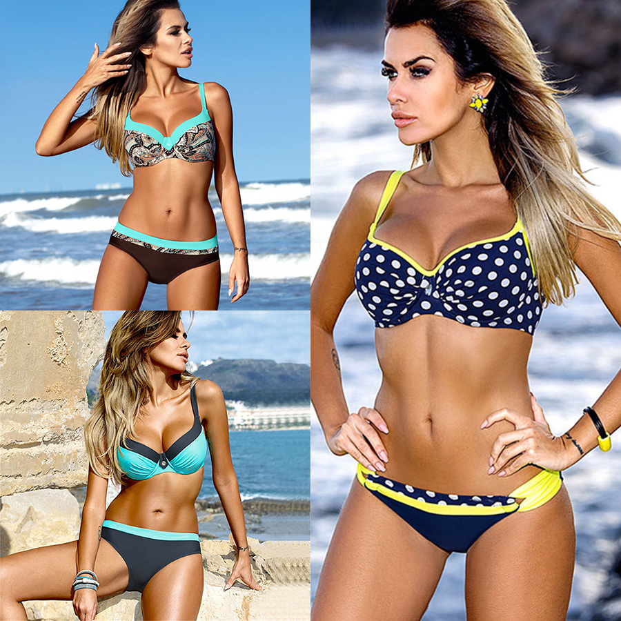 цена bikini swimwear women 2018 sexy bikini set push up swimsuit female two piece swimsuit women halter yellow bikini girl beach wear