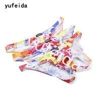 YUFEIDA 3 Teile/los herren Drucken Reizvolle Slip Bikini 100% Baumwolle Unterwäsche Design Konvexen Öffnen Zurück Briefs Low Rise Homosexuell männer Unterwäsche