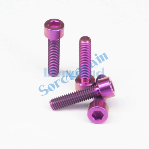 LOT 4 <font><b>M6</b></font> x <font><b>25mm</b></font> Purple TC4 GR5 Titanium Alloy Allen Hex Screw Column Head Bolts For Bicycle image