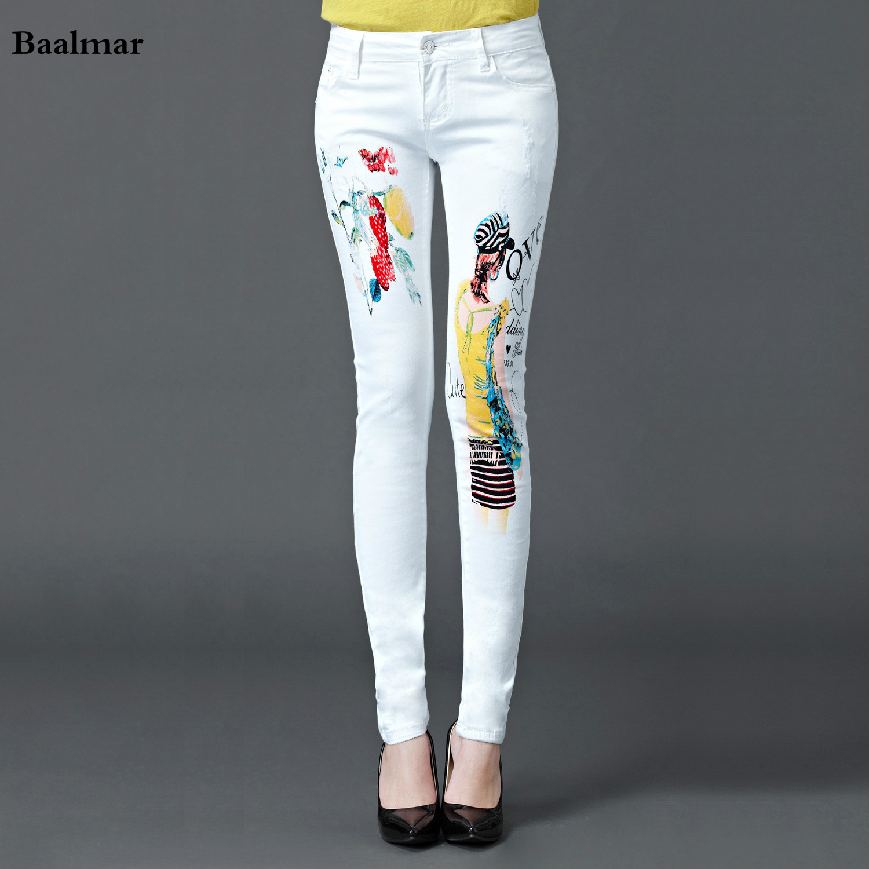 Baalmar Fashion Painted Women Skinny Pencil Jeans Denim Elastic Mid Waist Pants Washing Trouser Femme Woman