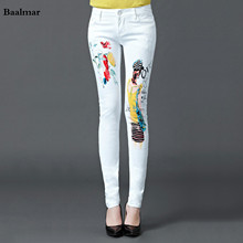 Baalmar Fashion Painted Women Skinny Pencil Jeans Denim Elastic Mid Waist Pants Washing Trouser Femme Woman Casual Jeans Pants