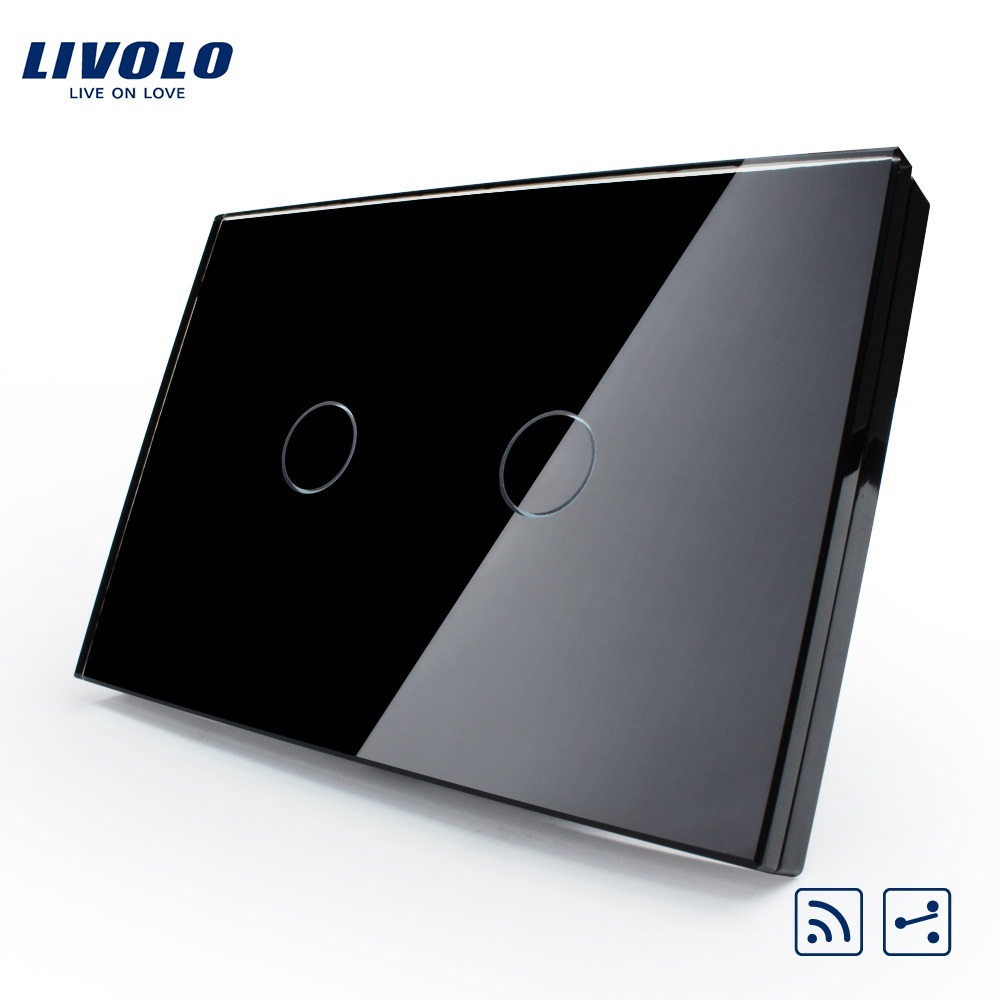 Livolo US/AU standard 2 Gang 2 Way Wireless Remote Wall Light Switch,White Crystal Glass Panel,VL-C302SR-81,No remote controller livolo luxury white crystal glass panel push button 1 gang 2 way switch vl c3k1s 81