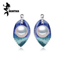 MINTHA Cloisonne Pärlörhängen Pärl smycken Pärlblad 925 Sterling Silverörhängen geometriska Böhmen örhängen för kärlek