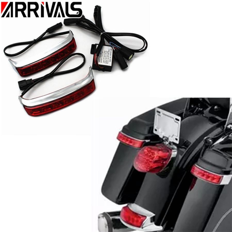 Rear Saddlebag LED Taillight Lights Turn Signal Light Lamp LED Red Lens For Harley Touring Street Glide 2014 2015 2016 2017