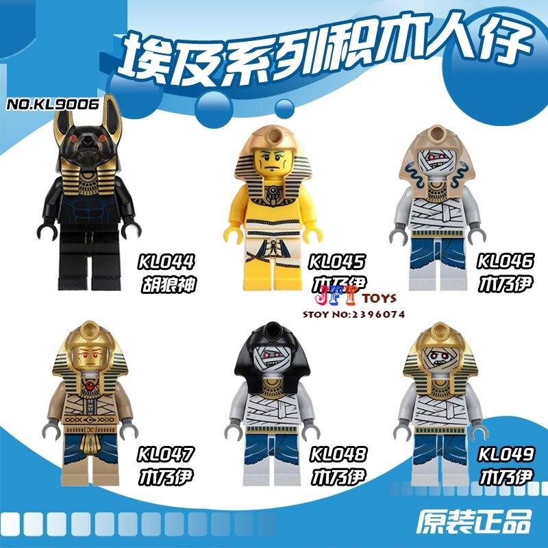 Single Mummy Warrior Golden Face Pharoahs Egyptian building blocks model bricks toy for children kits brinquedos menino