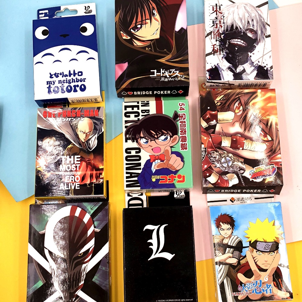 Table Game Naruto/Conan/Bleach /Tokyo Ghoul/One Punch Man /Code Geass/Reborn/Conan Cartoon Poker Cards Anime Collectible Card