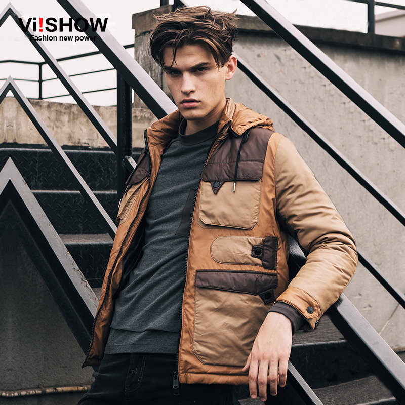 VIISHOW New Winter Khaki Hooded Jackets And Coats Mens Thick Warm Fashion Casual Handsome Young Men Parkas Fit Snow Cold MC23454 casual 2016 winter jacket for boys warm jackets coats outerwears thick hooded down cotton jackets for children boy winter parkas
