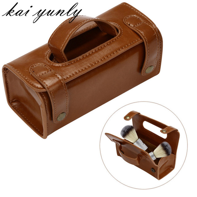 1PCS ZY Brown Leather Men's Travel Sports Pouch Case Shaving Brush Razor Toiletry Bag Free Shipping wholesale Dec 28