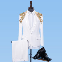 Formal White Men's Suits Gold Sequins Slim Tuxedo Singer Stage Performance Costumes Wedding Party Prom Host Chorus Stage suit