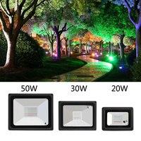 2019 nova variável rgb led projector luzes 20 w 30 50 holofotes led ao ar livre iluminação paisagem para jardim rua