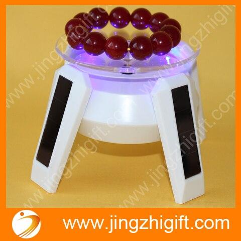 8 cm lampe à LED solaire présentoir électrique motorisé rotatif affichage plaque tournante pour modèle bijoux téléphone montre présentoir