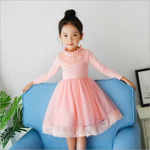 brand Kids Girls Dress Autumn Winter Warm Kids Party Wedding Pearl Formal Tutu Princess Baby Girls Dresses for 3-11 years old brand kids girls dress autumn winter