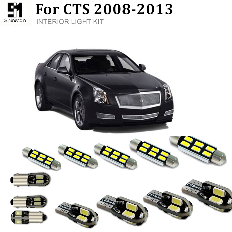 Shinman 18pcs Error Free LED Interior Light Kit Package for Cadillac CTS accessories 2008-2013 LED Interior Lighting Kit