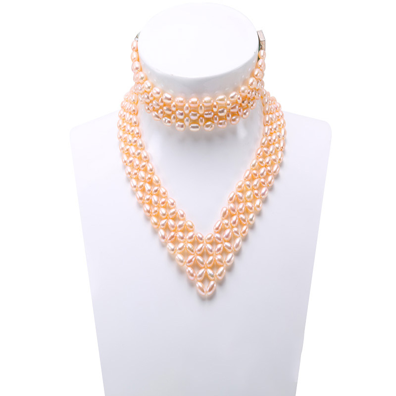 59b468866b263 US $36.18 23% OFF|JYX Choker Necklace Set Multi Strand 6 7mm Pink Oval  Freshwater Cultured Pearl Necklace and Bracelet Jewelry Set-in Jewelry Sets  ...