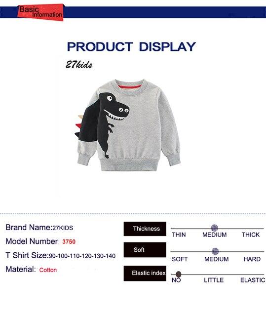 27kids kids Cartoon Print Baby Boys Dinosaur Hoodies Sweatshirts For Spring Infant Kids Boys T-Shirts Clothes Cotton Clothes 4