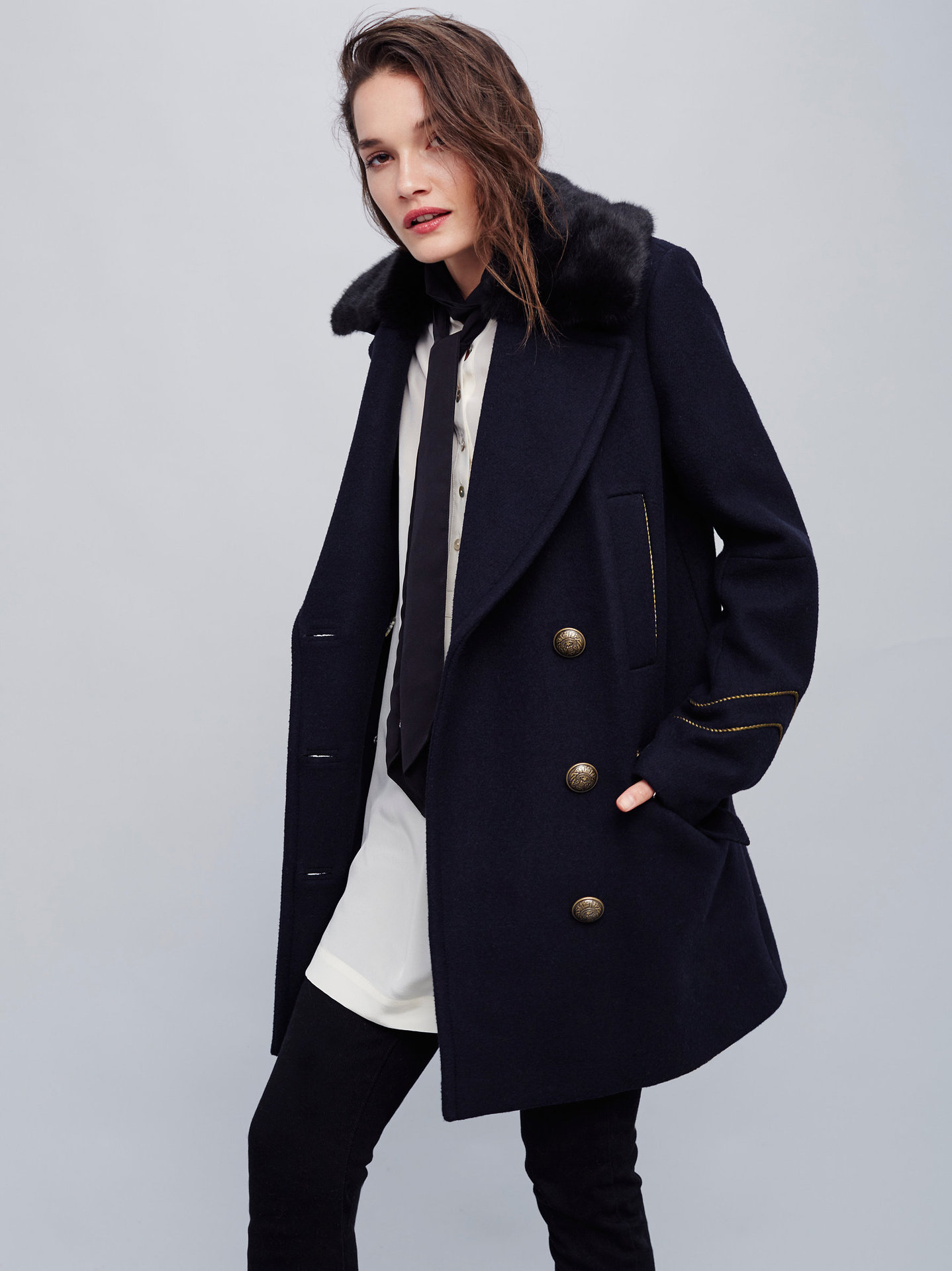 2018 NEW hot double breasted wool long winter jackets womens A-line slim casual blends pockets fashion wool coats thick coats