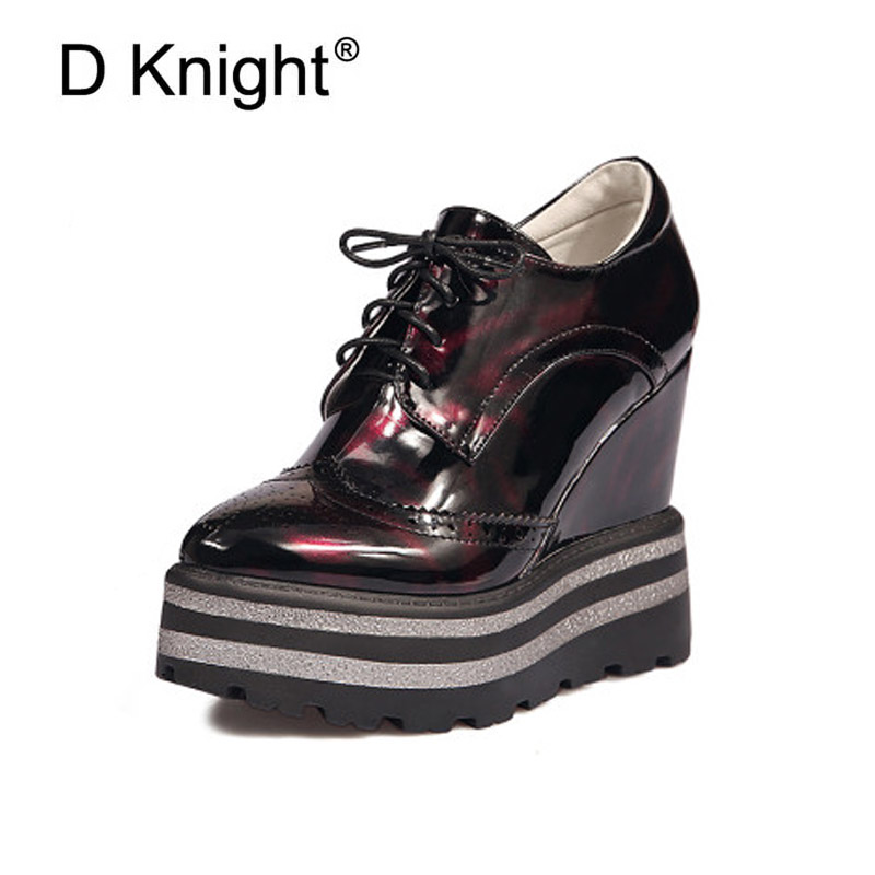 Hidden Heel Women Casual Shoes 2019 Women High Tops Patent Leather Wedges Shoes Print Lace Up Ladies Platform Shoes Plus Size 42 beffery 2018 british style patent leather flat shoes fashion thick bottom platform shoes for women lace up casual shoes a18a309