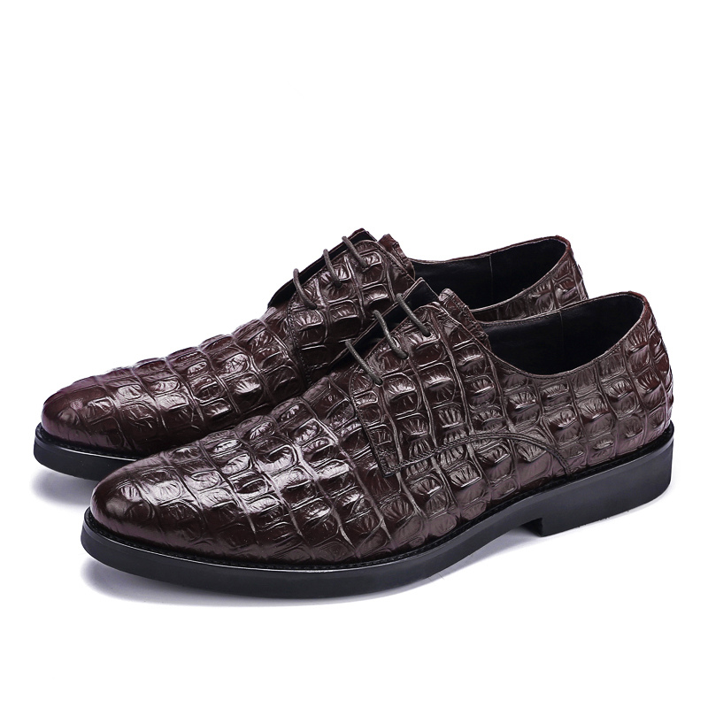 US6 10 Brand New Crocodile Mens Genuine Leather Oxfords Business Man Lace Up Dress Shoes Handmade Wedding Shoes in Oxfords from Shoes