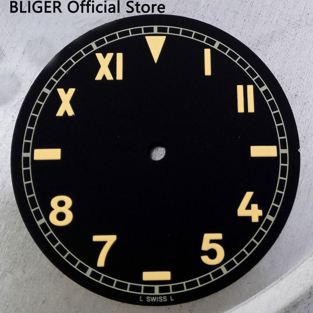 Bliger 38.9mm black dial yellow marks fit 6497 6498 <font><b>ST3600</b></font> movement men's watch dial N3 image