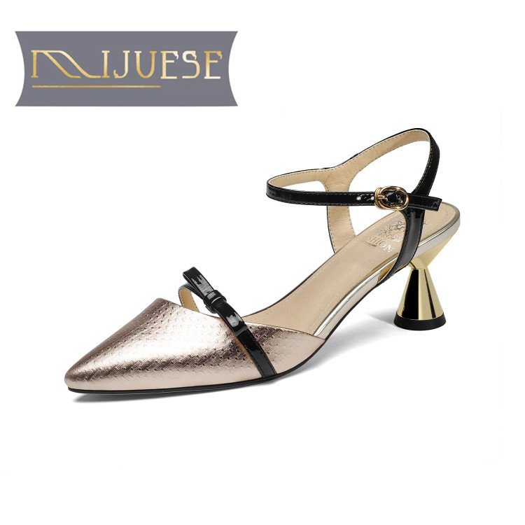 MLJUESE 2018 women sandals Genuine leather ankle strap Silver color pointed toe slingbacks high heels pumps
