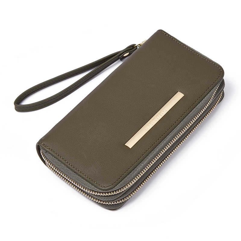 Женский двойной Длинный кошелек на молнии большой емкости Дамский кошелек телефон сумка держатель карты кожаные женские длинные кошельки для денег клатч
