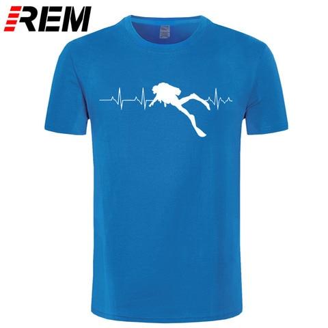 REM Scuba Dive Heart Beat Best Gift for Diver T-Shirts Summer Short Sleeves Soft Mens Tee Shirts Pure Cotton T Shirts Multan