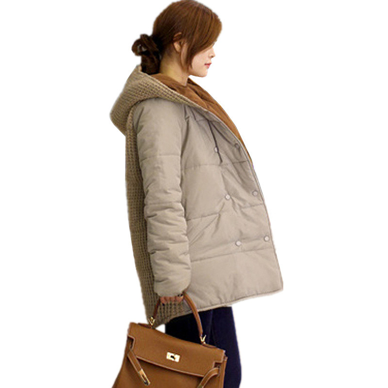 New Winter Women ParkasThicken Warm Medium Long Down coat Female Plus Size Cotton Double Breasted Hooded Jacket Coat Black khaki