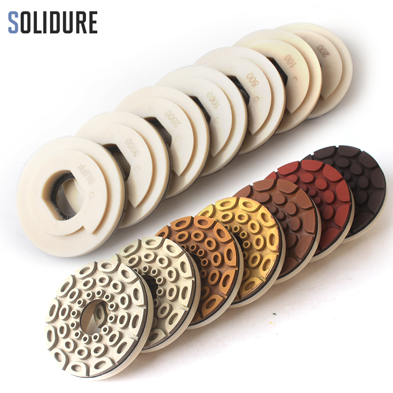 7pcs set 5 inch 125mm diamond edge polishing pads with snail backer lock for wet polishing