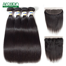 Peruvian Straight Hair Bundles With Frontal Human Hair 4 Bundles and Closure Remy Lace Frontal ombre extensions AirCabin(China)