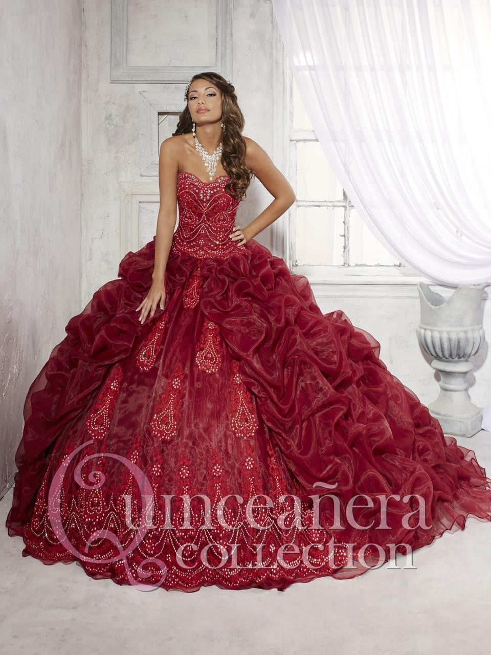 Charming Burgundy Quinceanera Dress Beaded Princess Sweet 15 16 ...