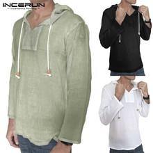 INCERUN Casual Men Shirt Hooded Long Sleeve Cotton Solid Vintage Shirts