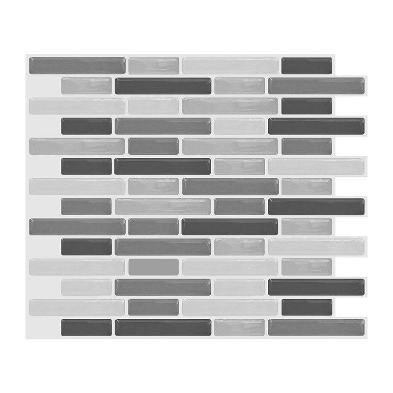 Self-Adhesive Waterproof Wall Tile Sticker Epoxy Transparent Vinyl Wall Brick 3D Oil-proof Kitchen Bathroom Decoration 10pcs