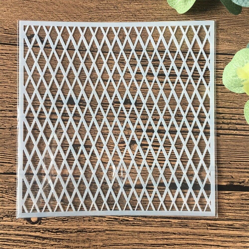 13cm Geometry Diamond DIY Craft Layering Stencils Wall Painting Scrapbooking Stamping Embossing Album Card Template