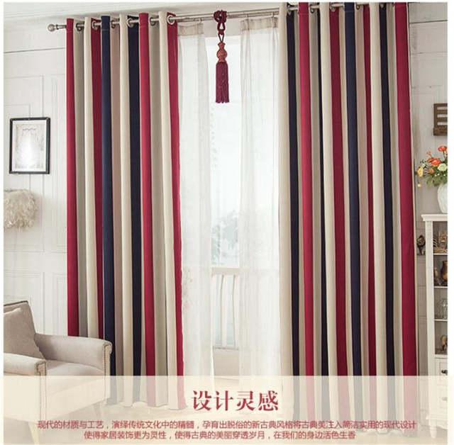 Online Shop Red White Blue Stripe Luxury Blackout Window Curtains