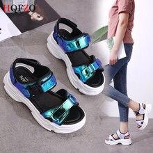 HQFZO Bling Wedges Sandals Women Summer Casual Comfort  Peep-toe Concise Platform Sequins Buckle Sneakers Sandalet Thick Bottom