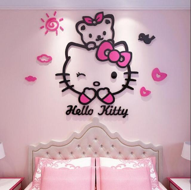 Hello Kitty Diy Wall Stickers For Kids Rooms Bedrooms 3d Acrylic Lovely Decals Poster Removable Hello Kitty Home Decor Sticker In Wall Stickers From