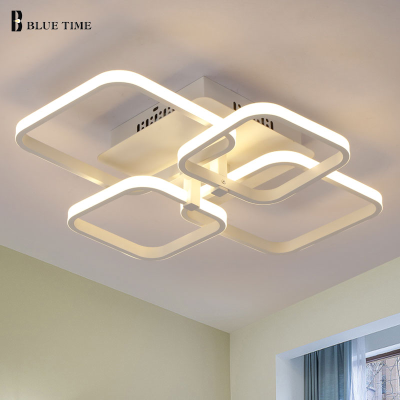 lowest price Home Modern Led Ceiling Light For Foyer Living room Bedroom Lights  Square Chandelier Ceiling Lamp White Black Lighting Fixtures