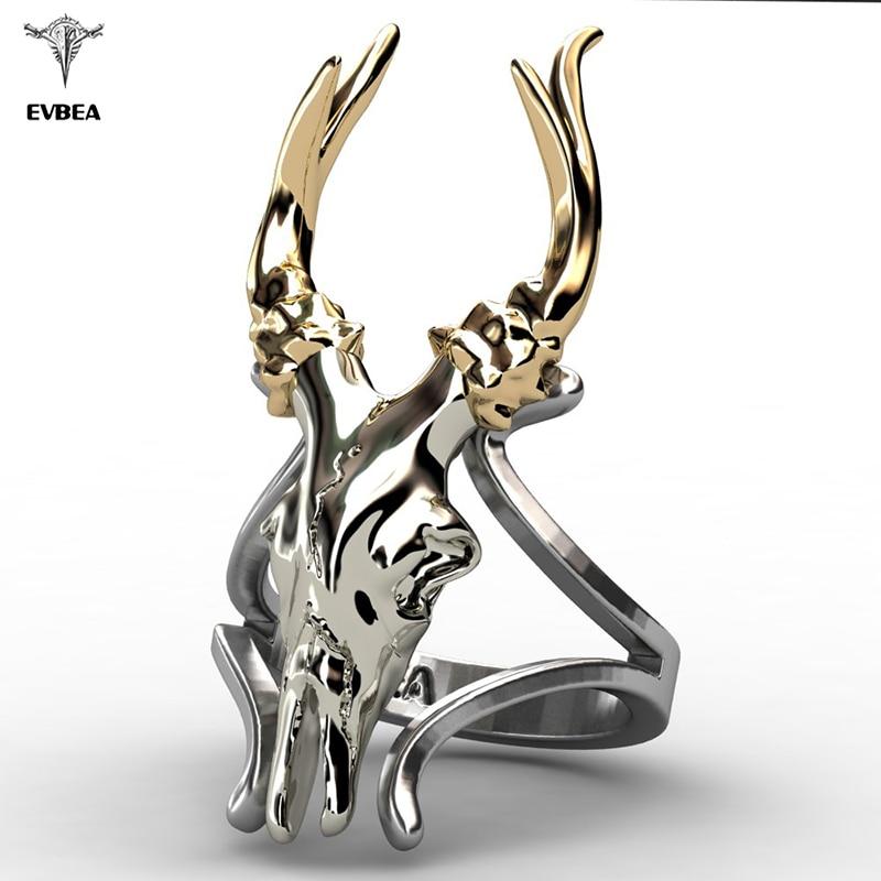 Deer Skull Ring Gold Plated Horns Stainless Steel Mens Womens Statement