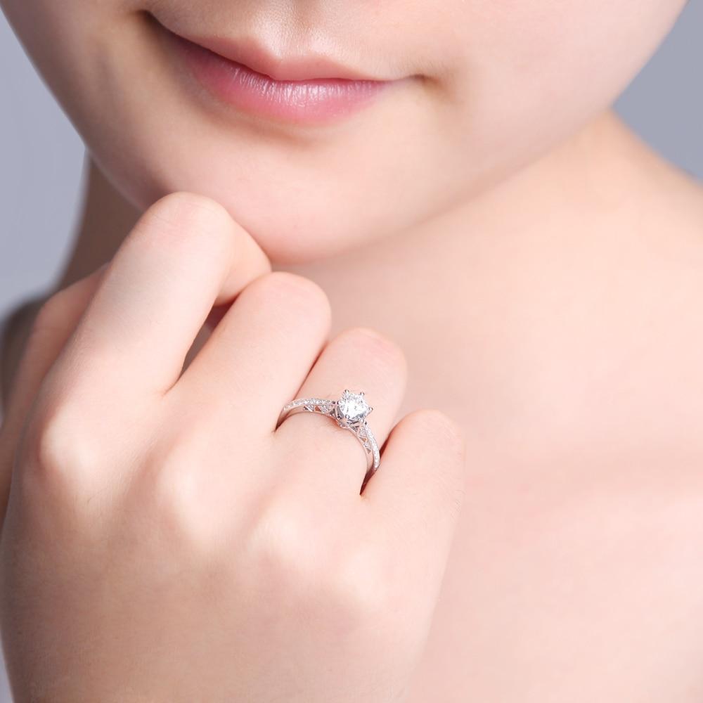 0.45CT SI/F G Diamond Engagement Rings Women GVBORI 18K White Gold ...