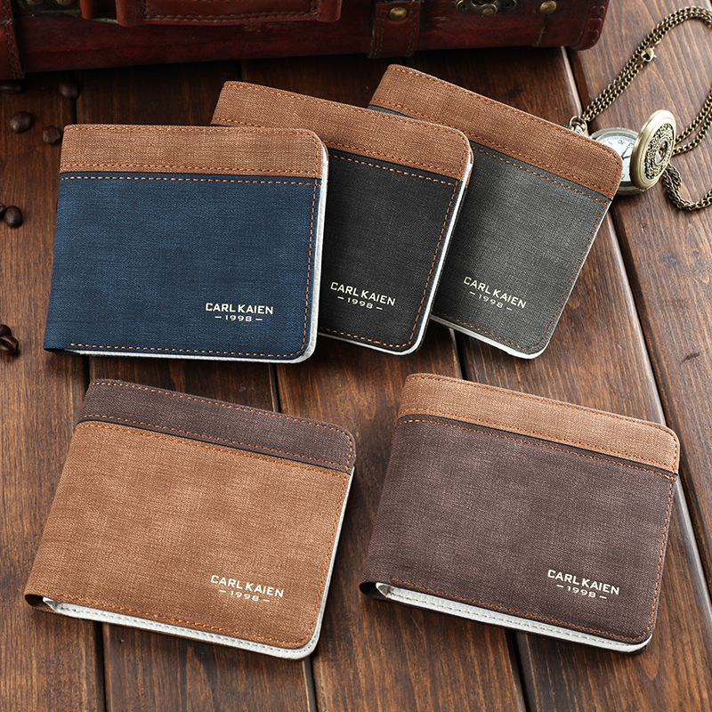Men Wallet Leather And Canvas Money Bag Male Coins Purse Card Holder Letter Patchwork Small Slim Wallet Short Vintage Male Purse