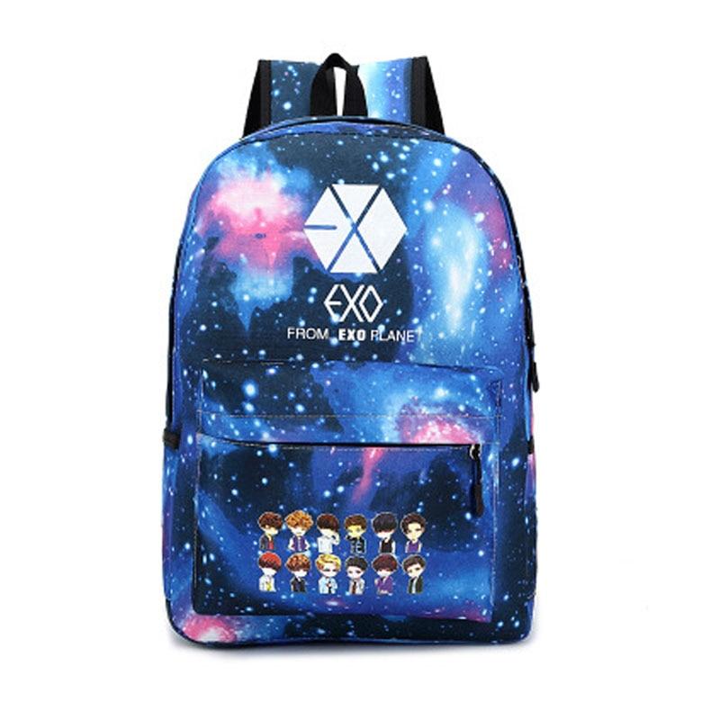New Korean Women's Colorful Canvas Backpack Teenage Girls Fashion Exo Bags Harajuku Backpack Rucksacks For School A097